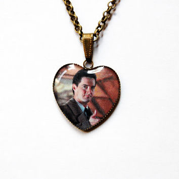 """FBI Special Agent Dale Bartholomew Cooper (Kyle MacLachlan) from Television Series """"Twin Peaks"""" - Handmade  Heart Cameo Pendant Necklace"""