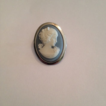 Vintage Blue Cameo Brooch Pin Costume Jewelry Gift