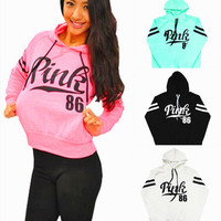 """ Pink 86 "" Printed Everyday Wear Comfortable Loose Casual Simple Victoria Secret Like Hoodie Pullover Jumper Blouse Swearshirt Shirt Top _ 9318"