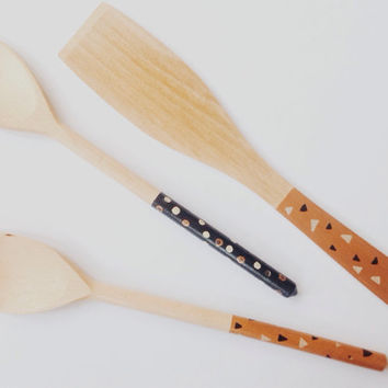 Painted Wooden Utensil Set in Metallic Copper, Black and Cream with Geometric Triangle / Polka Dot Design - Spatula, Scraper Spoon and Spoon