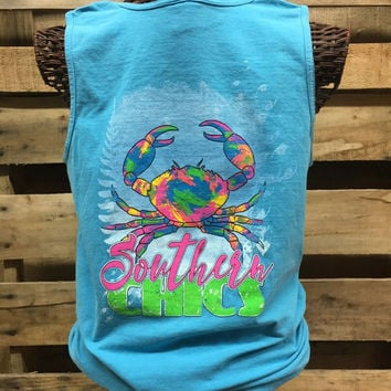 Southern Chics Preppy Watercolor Crab Bright Comfort Colors Girlie T Shirt Tank Top
