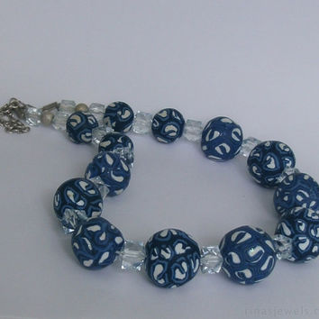Hand rolled chunky clay bead necklace | Big round beads from polymer clay long blue and white necklace