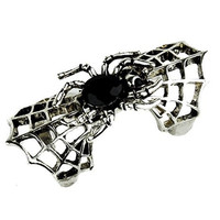 Black Stone in Spider Web Ring Gothic Silver Design Gothic Jewelry