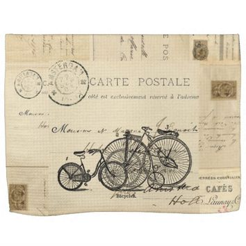Vintage Bicycles French Postcard Towel