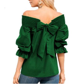 2018 Summer New Women Fashion Sexy Off Shoulder Strapless Back Bow Shirts Blouses Casual Solid Slash Neck Tops Blusas