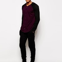 ASOS Skater Long Sleeve T-Shirt With Baseball Button Through