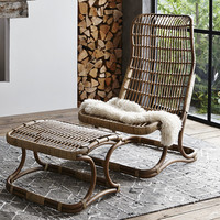 Anders High Back Rattan Chair And/Or Ottoman
