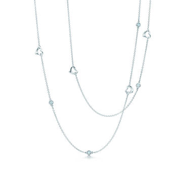 Tiffany & Co. - Elsa Peretti® Diamonds by the Yard® Open Heart necklace in sterling silver.