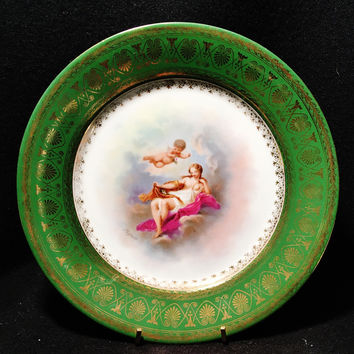 Cherub & Angel Royal Vienna Hand Painted Porcelain Plate Signed 1880-1890