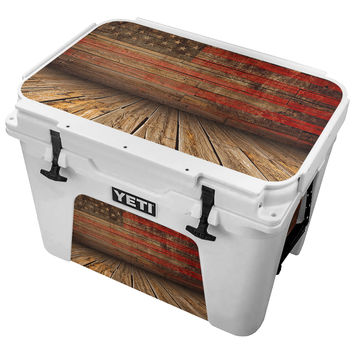 Worn Wooden Planks WIth Faded American Flag on the Wall Skin for the Yeti Tundra Cooler