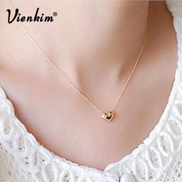 Vienkim New design Simple Fashion jewelry women short accessories Elegant Lovely Gold Heart Shaped pendant necklace girl gift
