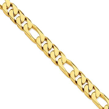 Men's 14k Yellow Gold, 11mm Figaro Link Bracelet - 8 Inch