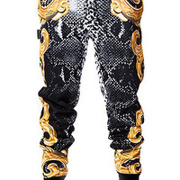 The Ornate Snake Sweatpants in Black