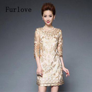 Summer Elegant Luxury Embroidered Casual Vintage Dresses Mini Lace 3/4 Sleeve Embroidery Dress Women vestido Plus Size Dress 5XL