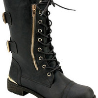 TIMBERLY LACE UP BOOTS-BLACK