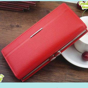 2016 Hot Fashion Women Wallets Clasp Handbag Solid Leather Bag Clutch Ladies Brand Cash Phone Card Coin Purse Business Quality