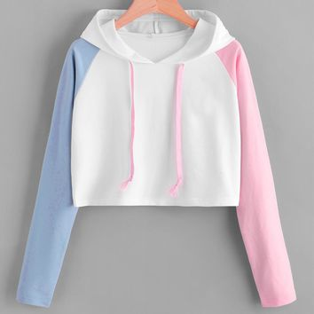 Contrast Sleeve Graphic Hoodie Women Patchwork Long Sleeve Crop Top Active Pullovers Casual Sweatshirt #10