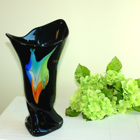 glass vase Valentine's Day gifts hand blow glass vases made in Poland Makora black weddings handmade glass vases