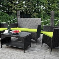 Merax 4-piece Outdoor PE Rattan Wicker Sofa and Chairs Set Rattan Patio Garden Furniture Set (Cushion Green)