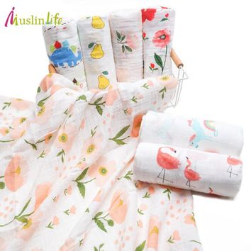 Muslinlife 2ply Baby Cotton Baby Swaddle Blanket Breathable Muslin Wrap Multi-use Baby Stroller Blanket Travel 110*110cm