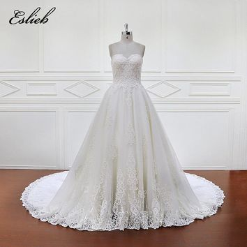 Eslieb 100% Real Photos Luxury Wedding Dresses Royal Train Lace Appliques Off the Shoulder Wedding Dress 2018 Vestido XF1095
