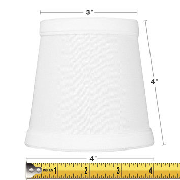 0-006533>3x4x4 Chandelier White Linen Clip-On Lamp shade