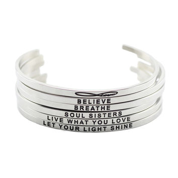 New arrival! stainless steel open cuff bracelet silver Hand Stamped Bracelet Bangle engraved words bracelet bangle jewelry