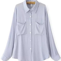 Blue Long Sleeve Blouse with Pocket and Button