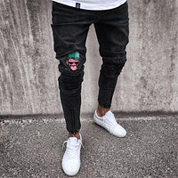 Men Skinny Rip Jeans Man Slim fit Stretch Patch Hole Denim Distress Frayed Biker Jeans Boy  Street Style Cool Pants