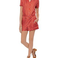 Red Silk Twill Printed Playsuit | Carven | Avenue32