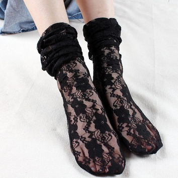 Feitong Lace Floral Ladies Socks Transparent Thin Ankle Socks Women Meias Femininas Fashion Korean Socks Meias Longas#121 SM6