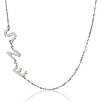 Sideways Three Letter  Initial Necklace  -  .925 Sterling Silver