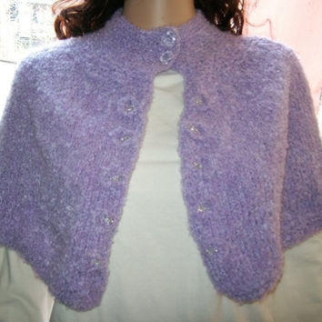 Mohair knitted Buttoned Poncho/Wrap by labostyle on Etsy