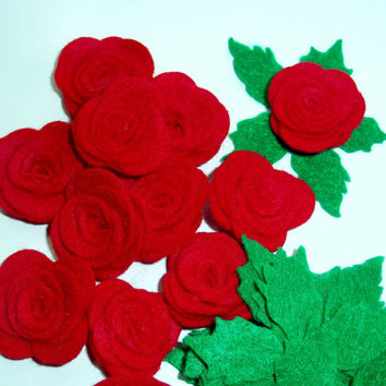 Red Roses and leaves. Die cut rose, felt rose, set of 10 roses and leaves, felt cut outs, die cuts, rolled roses, green leaf die cut