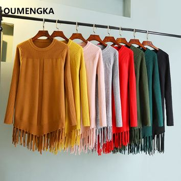 OUMENGKA Winter Woman Long Sweater Knitting Pullovers Loose Tassel Thick Sweaters and Pullovers Female Jumper Tricot Top 8 Color