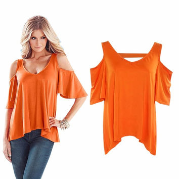 New Womens T Shirt Fashion Orange Cold Shoulder Top Slight High Low Hem V-neck With Elastic Strap At Back Sexy Tops T-shirt