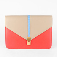 Push the Envelope Clutch in Taupe and Red :: tobi