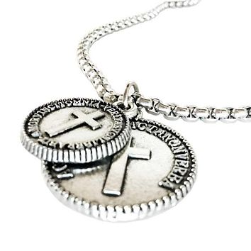 Cross Coins Pewter on Heavy Chain Necklace