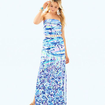 Mika Strapless Maxi Dress | 29764-bluecurrentchasingwavesengineeredmaxi | Lilly Pulitzer