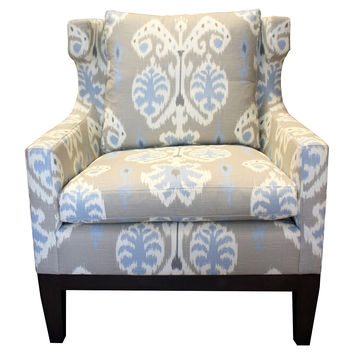 Cecil Cotton Chair, Gray/Light Blue, Wingbacks