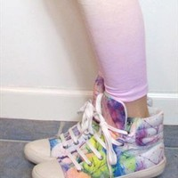 Aldo Rainbow Painted High Top Sneakers from Honey Moon Muse