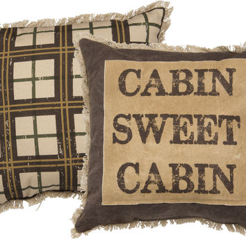 Cabin Sweet Cabin - Cotton Canvas Two Sided Decorative Throw Pillow - 15-in