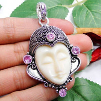 On Sale AAA Padpradascha Pinkish Orange Natural Sapphire & .925 Sterling Silver Carved Face Artisan Bali Pendant