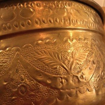 Vintage Marque Deposee Large Ornate Brass Footed Pot Handles France EUC