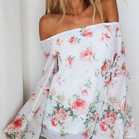 White Off Shoulder Floral Print Chiffon Blouse