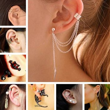 Women Ear Cuffs With stones And Chains And Feather Design
