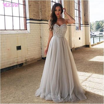 Sliver Rhinestones Prom Dresses Long Evening Party Dress Straps Tulle Beaded Floor Length Vestido De Festa