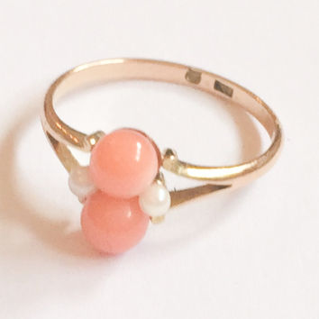 Coral Pearl Ring, 15K Gold Ring, Art Deco Ring, Vintage Jewelry, Gift for Her VALENTINE SALE