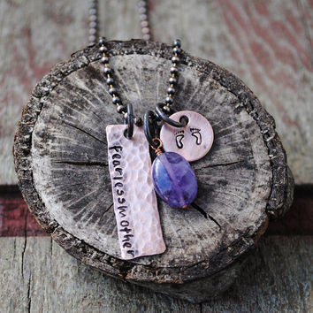 Fearless Mother Necklace in Copper with Amethyst Stone and Baby Feet Charm