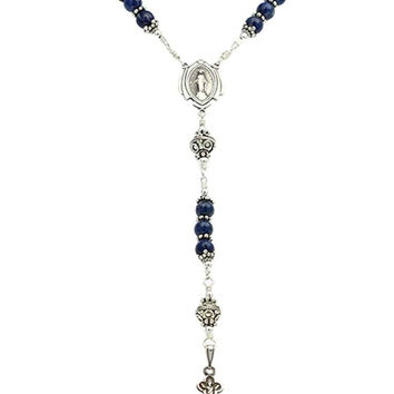 "Sterling Silver Rosary Necklace, Lapis Lazuli 6mm, Crucifix & M. Medal, 23"" Necklace Prayer Beads"